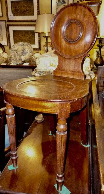 A Regency period mahogany hall chair, England, c1810