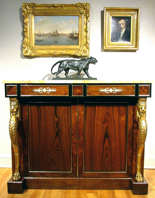 An exceptional Regency rosewood & goncalo-alves side cabinet, c1825