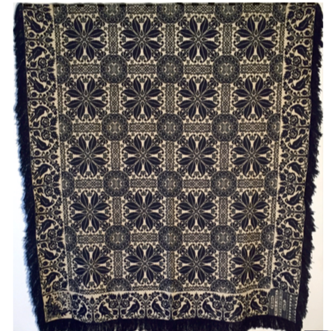 A Canadian jacquard woven coverlet, W & J Noll, Petersburg Ontario, c1871-1905