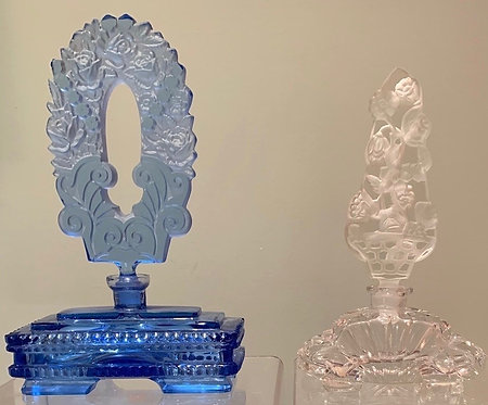 Two mid-20thC Czech glass perfume bottles
