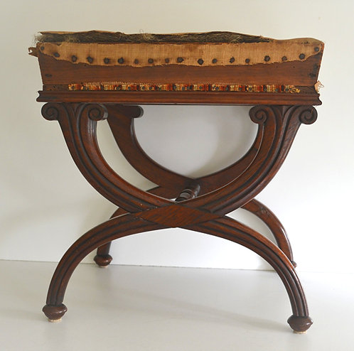 A 19th C English Regency mahogany x-frame footstool, c1825
