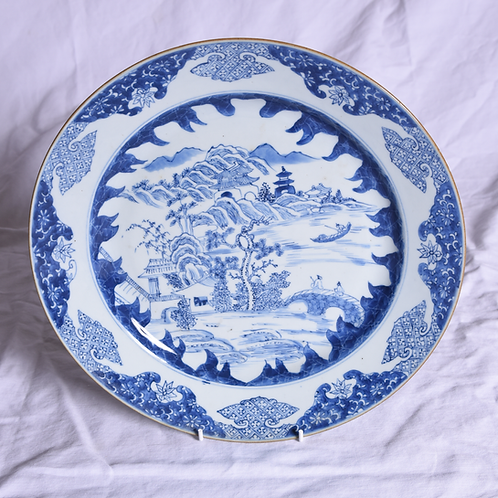 A mid 18th C Chinese porcelain blue & white plate, c1750