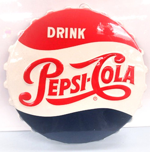 An original 1954 'Drink Pepsi-Cola' bottle cap embossed advertising sign