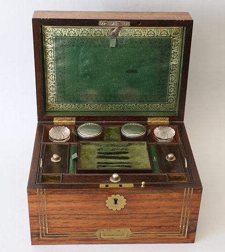 19thC English rosewood compendium, or travelling vanity case