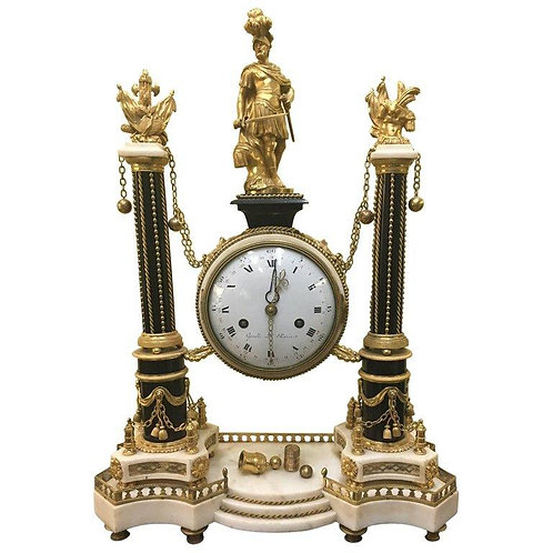A large Louis XVI ormolu and marble portico clock by Gavelle L'Aine (1753-1802)