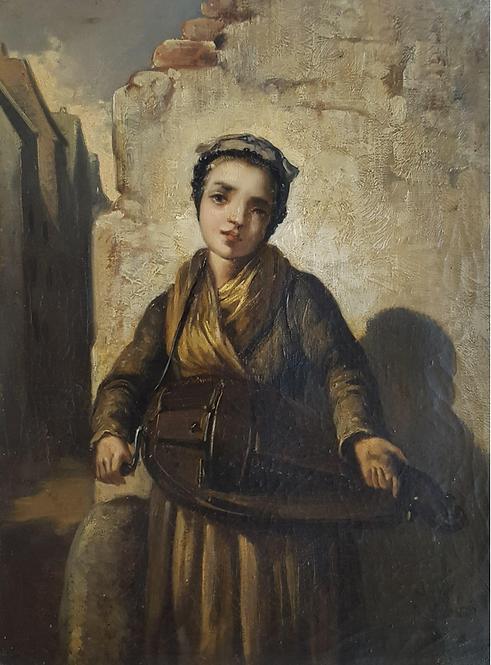 Agathon Léonard (French 1841-1923) 'Young Hurdy-Gurdy girl', oil on canvas c1870