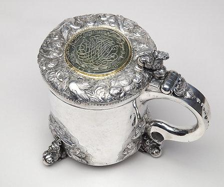 18thC Norwegian Silver & Gilt Lidded Tankard, maker Jens Joensen Erland, 1709