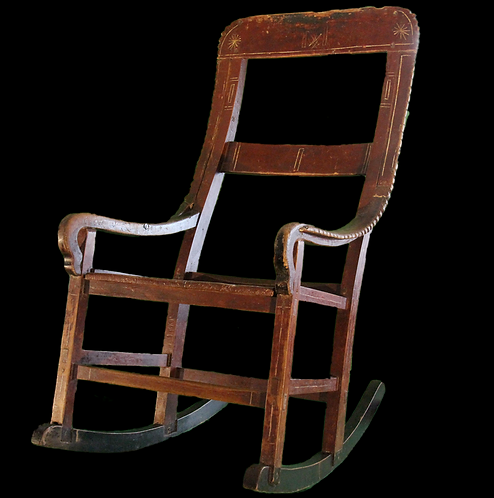 A 19thc Canadian Indigenous rocking chair / berceuse in original paint, Abenaki