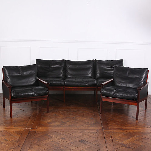 Solid rosewood & leather salon set by Ilum Wikkelso for Niels Eilersen, 1959