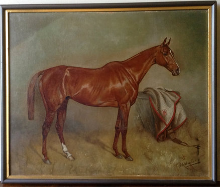 J. A. Wheeler, oil on canvas, Portrait of a chestnut horse in stable, signed