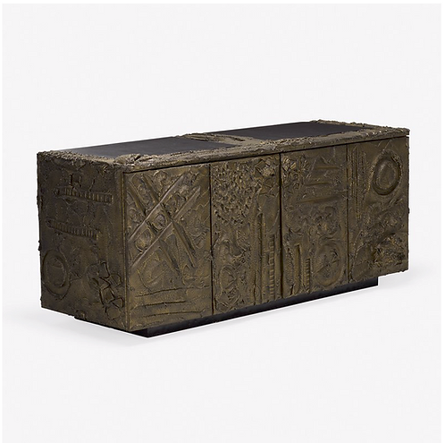 Sculpted and Patinated Bronze Credenza by Paul Evans for Directional