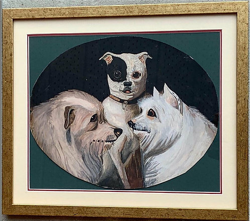 A 19th C oval portrait of three dogs, artist unknown