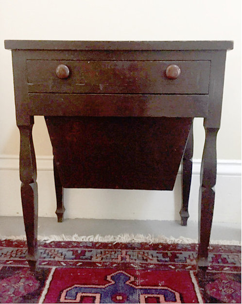 A 19th C Canadian pine sewing table, possibly Charlotte County, New Brunswick