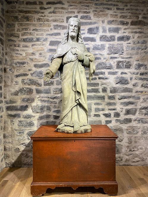 A rare Quebec Sacred Heart statue by master sculptor Louis Jobin (1845-1928)