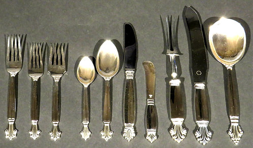 Near complete Georg Jensen sterling silver Acanthus service for twelve post 1940