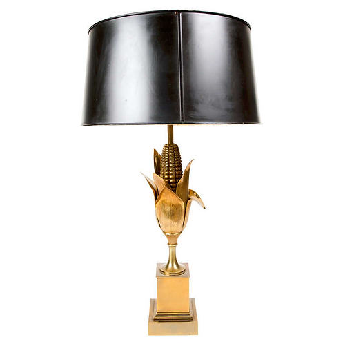 A Maison Charles gilt bronze 'Corn' table lamp with black tole shade, France