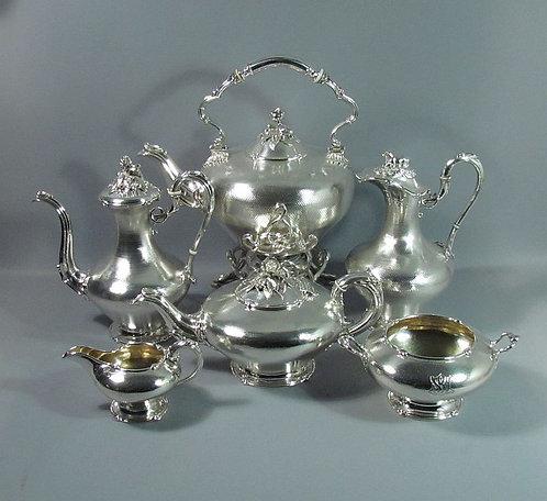 A monumental 19th C French sterling silver tea service Louis Aucoc Paris c1875