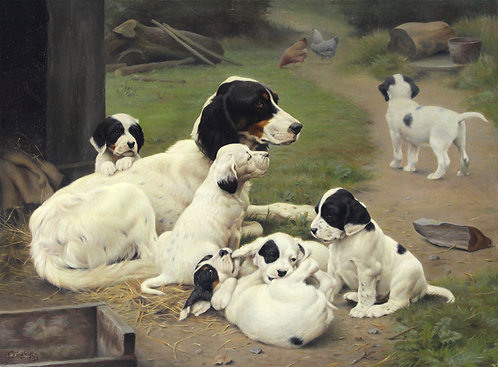 Ejnar Vindfeldt (1905-1953)  A Moment's Rest - English Setter with Six Puppies