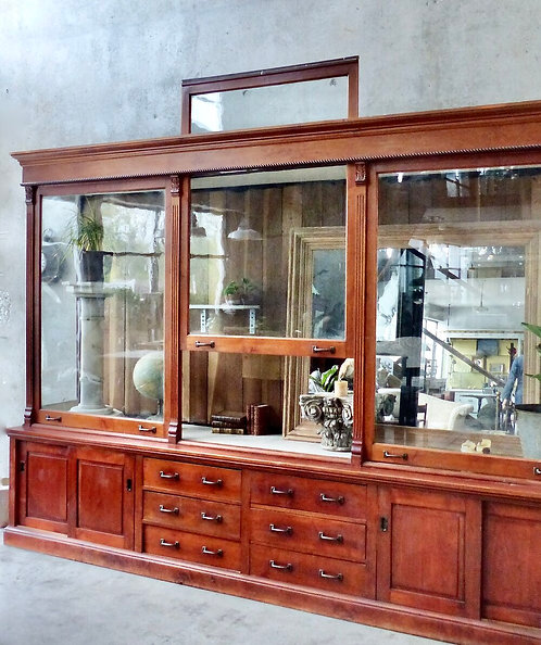 A solid maple glass front Mercantile display case/store cabinet, c1900