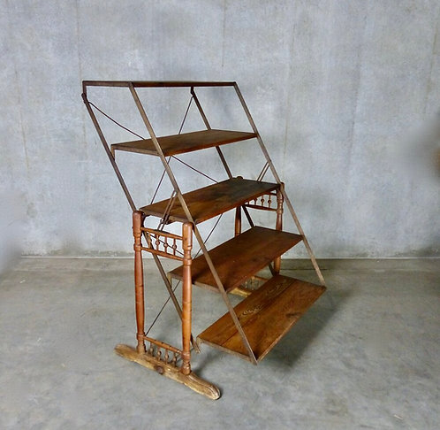 A multi-position folding shelf/table by The Combination Table Co., patented 1896