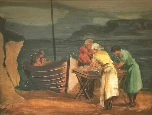 Eric Goldberg CAS FCA (Canadian, 1890 - 1969) 'Tending to the day's catch'