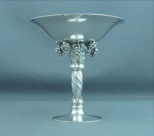 A sterling silver tazza, grape cluster motif & hammered finish, Georg Jensen