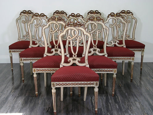 A magnificent set of ten late 18th C Louis XVI period dining chairs