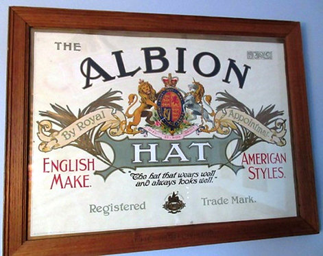 Early 20thC 'The Albion Hat' lithographed advertising sign, original frame c1900