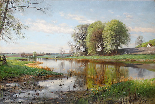 Peder M. Monsted (Danish 1859-1941) First Blush of Spring, 1901
