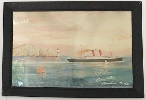 "Cunard Line circa 1905 ""Passing the Needles"" Vintage Travel Print"