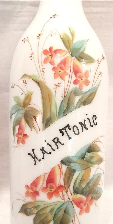 "A 19thC pair of Victorian milk glass barber shop ""Tonic Bottles"""