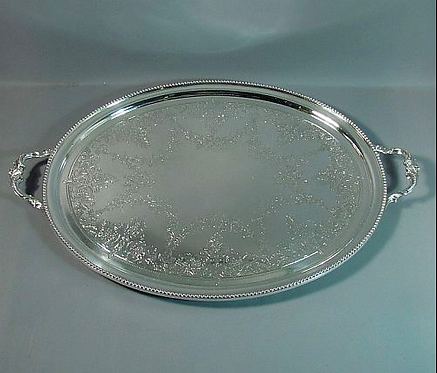 A large Victorian sterling silver tea tray, Richard Martin & Ebenezer Hall, 1869