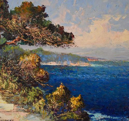 Fernand van den Bussche (1892-1975) 'Costal Landscape' oil on canvas, c1950