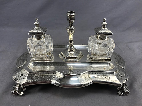 A 19th C sterling silver inkstand & pen rest, London, 1871