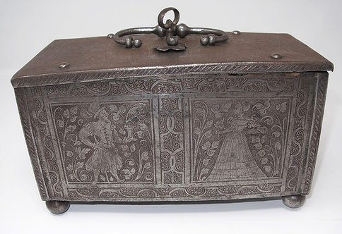 A late 16th C etched steel lock box with figures, likely Nuremberg, circa 1600