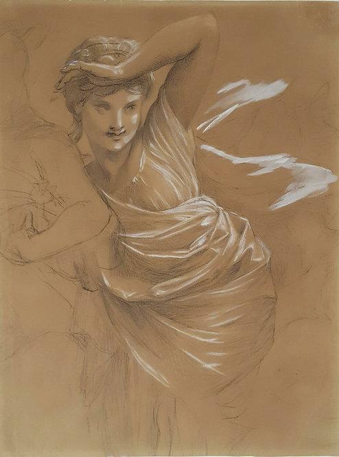 Henri-Pierre Picou (1824-1895) attr., 'Female figure in motion' pencil & gouache