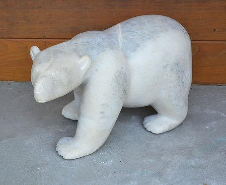 A superb & large white marble sculpture of a polar bear, Matthewsie Tunnillie