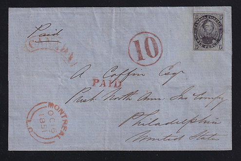 Canada 1851 6d Consort Cross-Border Folded Cover Montreal to Philadelphia