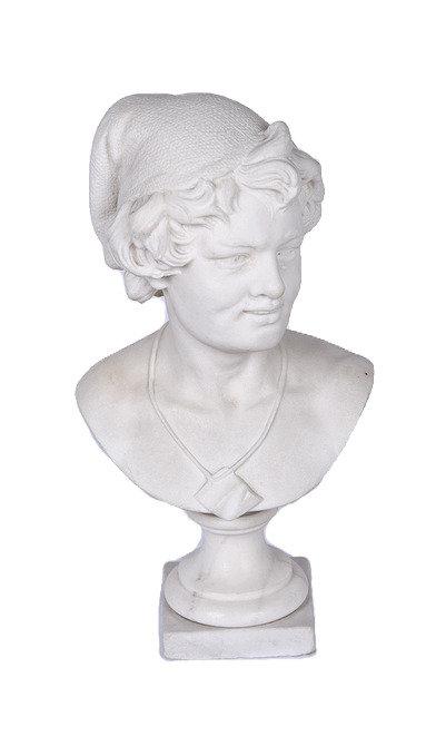 A 19th C Belgian white marble bust, Antoine Joseph Van Den Kerckhove c1890