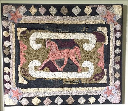 A late 19th C Canadian folk art 'Prancing Pony' hooked rug, Western Ontario