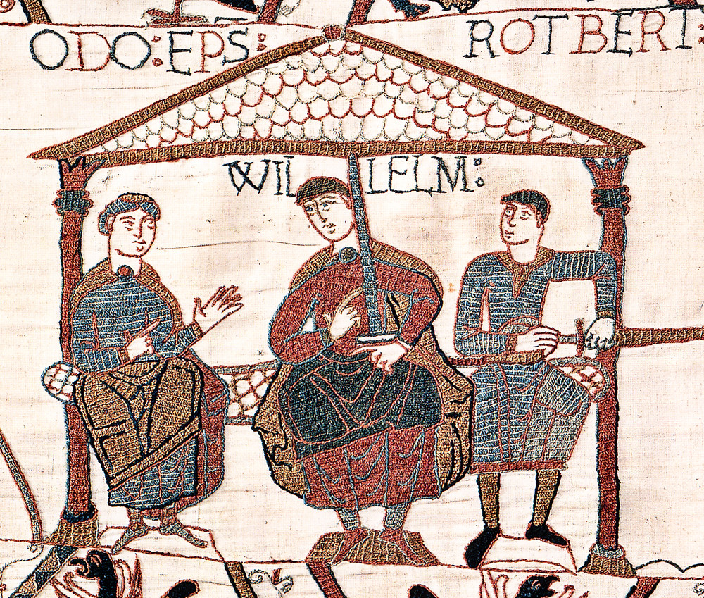 Image from the Bayeux Tapestry showing William with his half-brothers. William is in the centre, Odo is on the left with empty hands, and Robert is on the right with a sword in his hand.. historic tapestry. Royal history
