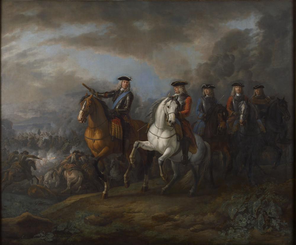 Marlborough and Cadogan at the Battle of Blenheim by Pieter van Bloemen