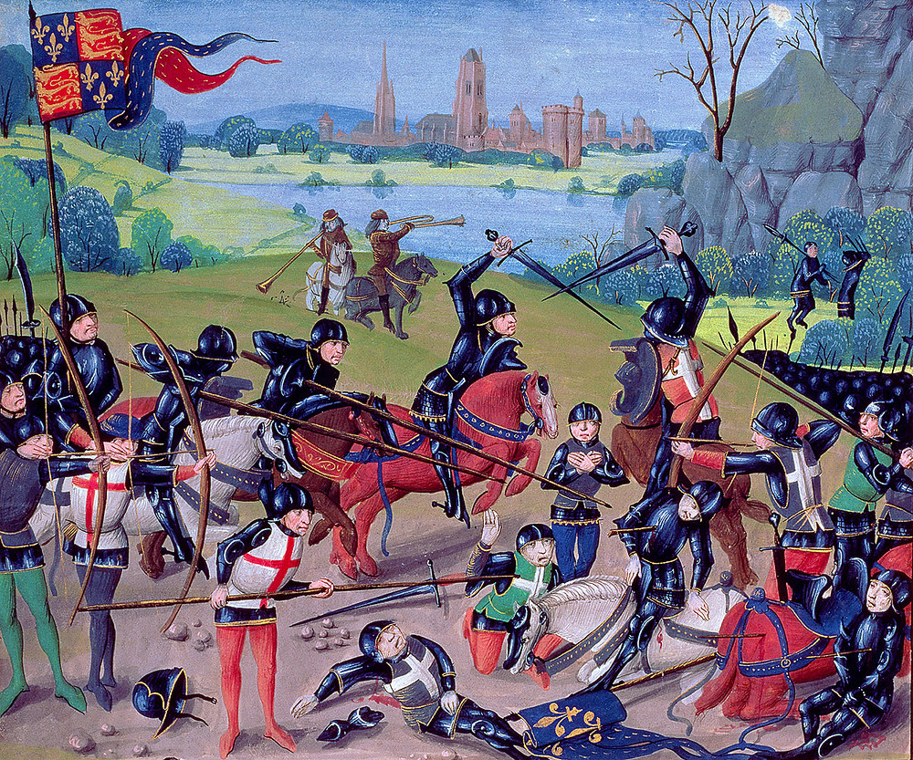 The Battle of Agincourt from a contemporary miniature, c.1422 Lambeth Palace Library, London, UK / The Bridgeman Art Library, By Unknown - Ms 6 f.243 Battle of Agincourt, 1415, English with Flemish illuminations, from the 'St. Alban's Chronicle' by Thomas Walsingham (vellum), English School, (15th century) [Public domain], via Wikimedia Commons