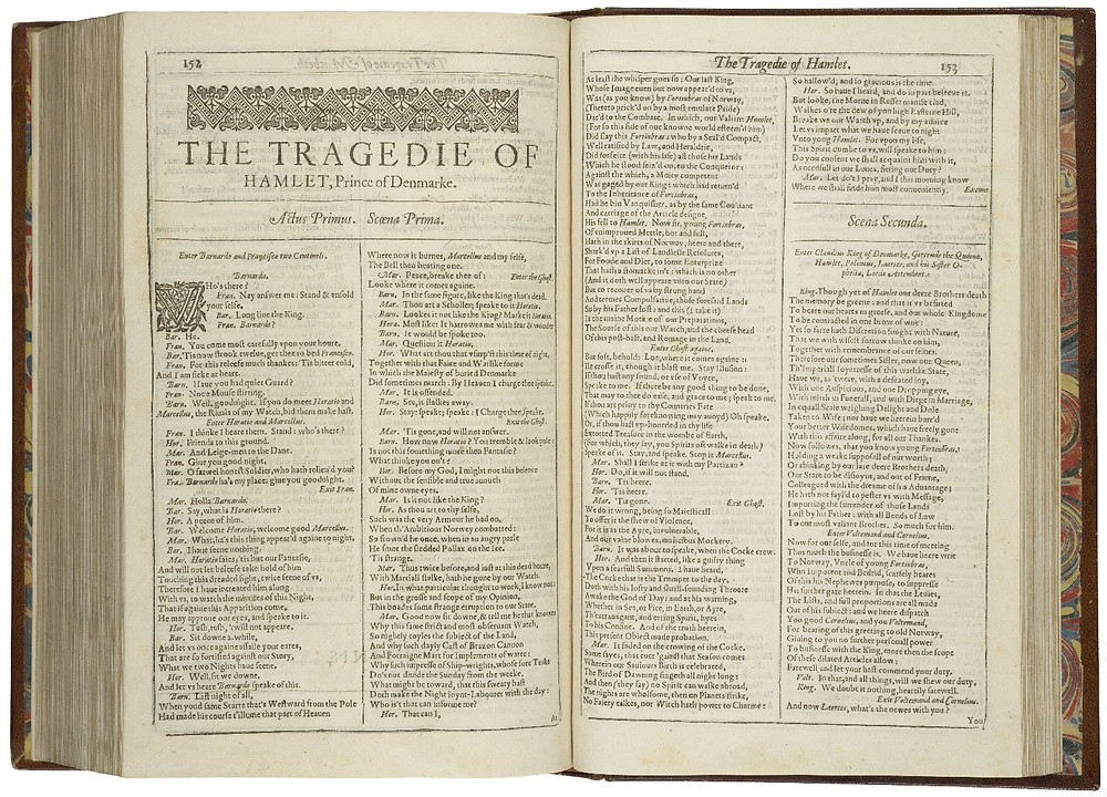 The first page of the First Folio printing of Hamlet, written by William Shakespeare, 1623