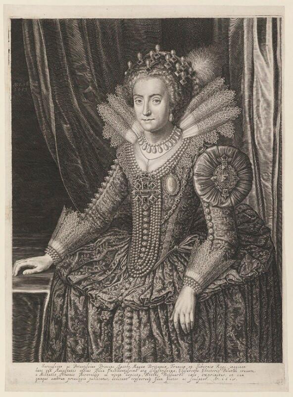 Princess Elizabeth, Queen of Bohemia and Electress Palatine  by Boetius Adams Bolswert (Bolswerth), after Michiel Jansz. van Miereveldt line engraving, 1615 NPG D10712  © National Portrait Gallery, London