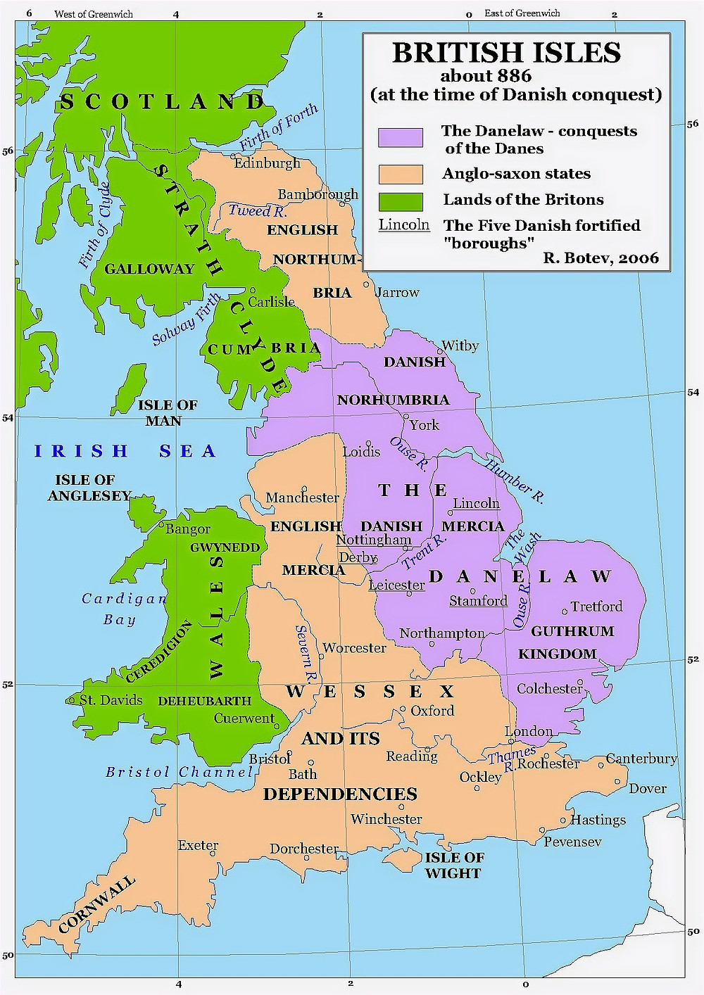 Map of Britain in 886. Alfred adopted the new title King of the Anglo-Saxons