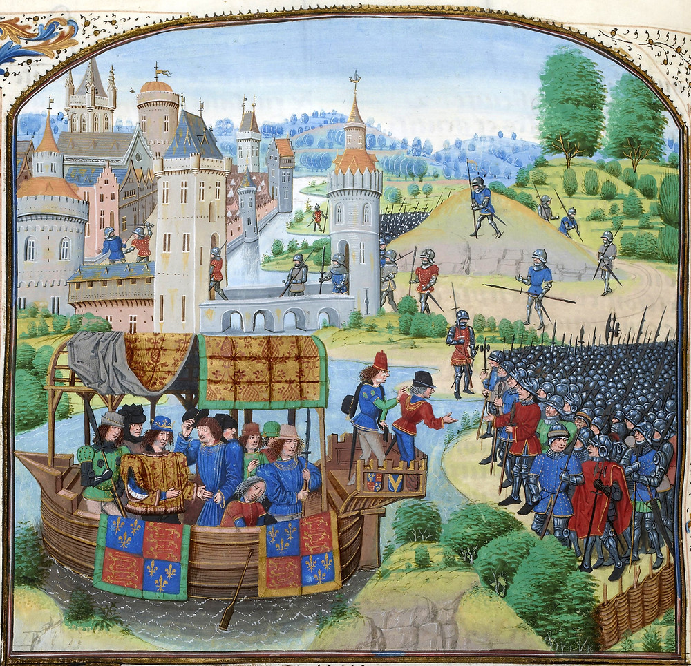 Richard II meets the rebels on 14 June 1381 in a miniature from a 1470s copy of Jean Froissart's Chronicles.