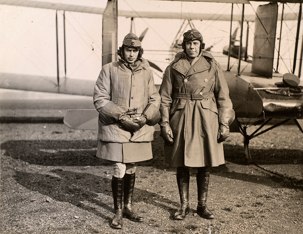 Prince Albert, later King George VI (1895-1952) and Major Louis Greig (1880-1953) 11 Oct 1918 pictured with an RFC bi-plane