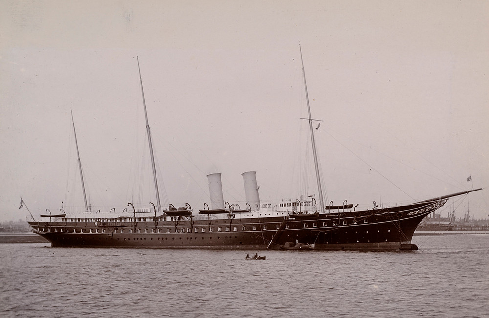 The Royal Yacht Victoria and Albert III, Jun 1908. Royal Collection Trust/© Her Majesty Queen Elizabeth II 2019. Historic photo of Royal Yacht
