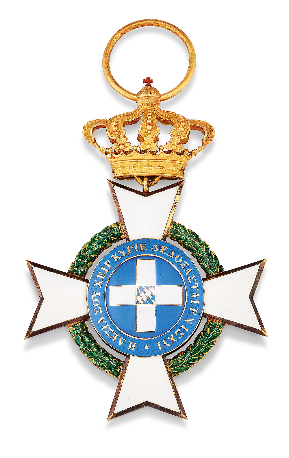 GREECE, ORDER OF THE REDEEMER, BADGE . White enamel Maltese Cross with laurel leaf surround to the central portrait of King Otho, facing right, blue enamel border, rev. Greek cross with central Bavarian coat of arms, in gold and silver gilt, in fitted case (star deficient), with three interesting documents dated 1838, extremely fine and rare Maltese Cross including suspension loop;12 cm. high